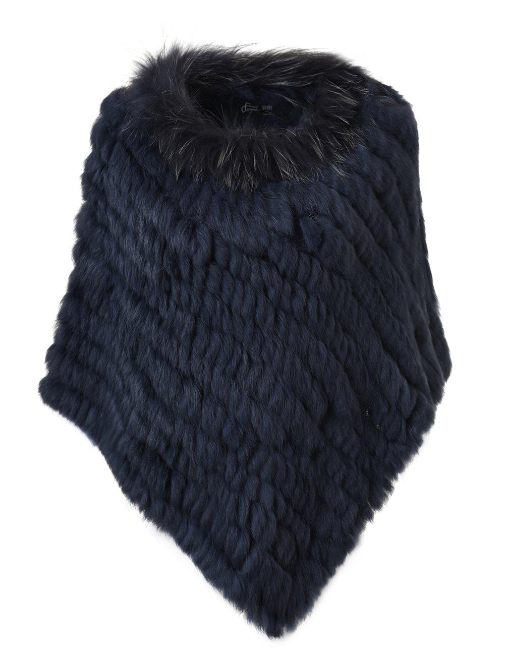 Ferand - Poncho Elegante Mantella Casdo Inverno A Maglia in Pelliccia Vera  di Coniglio con Colletto in Pelliccia di Procione - Donna 783f036731c