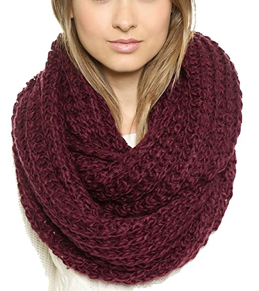 Oure Women Solid Knit Infinity Scarf Soft Warm Scarves (Wine)
