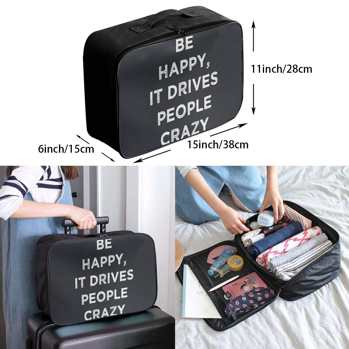 Travel Luggage Duffle Bag Lightweight Portable Handbag Be Happy Large Capacity Waterproof Foldable Storage Tote