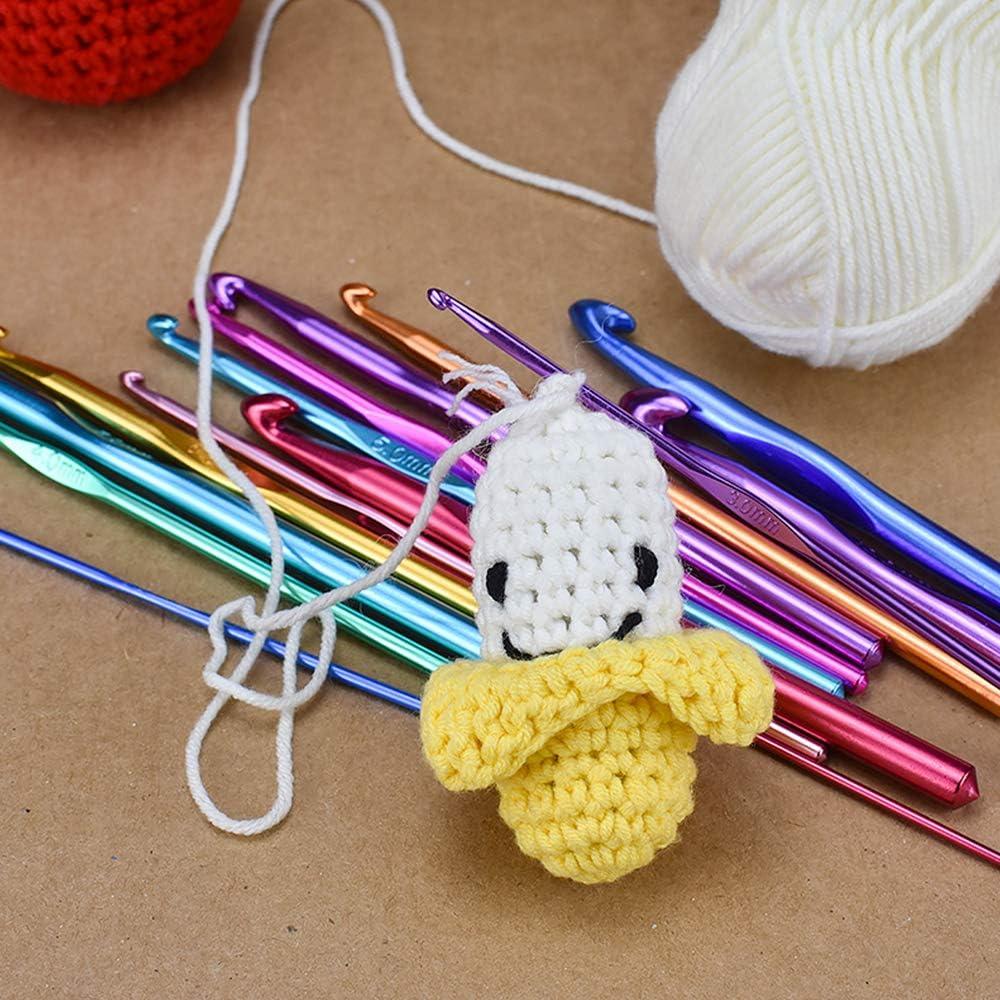 Maxure 14 pcs Ganchos de ganchillo de aluminio multicolor Agujas de tejer Juego de hilos de tejido 2 mm-10 mm
