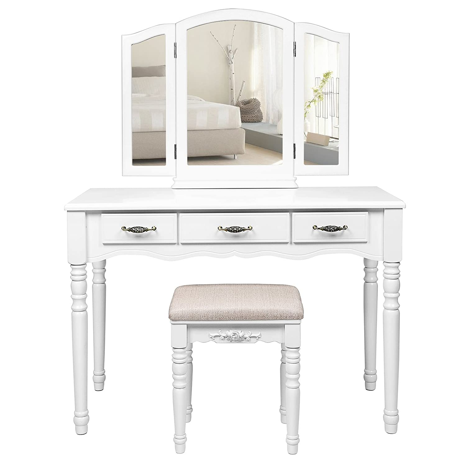 Songmics large dressing table set tri folding mirror vanity makeup desk cushioned stool 3 drawers easy assembly white rdt18w amazon co uk kitchen
