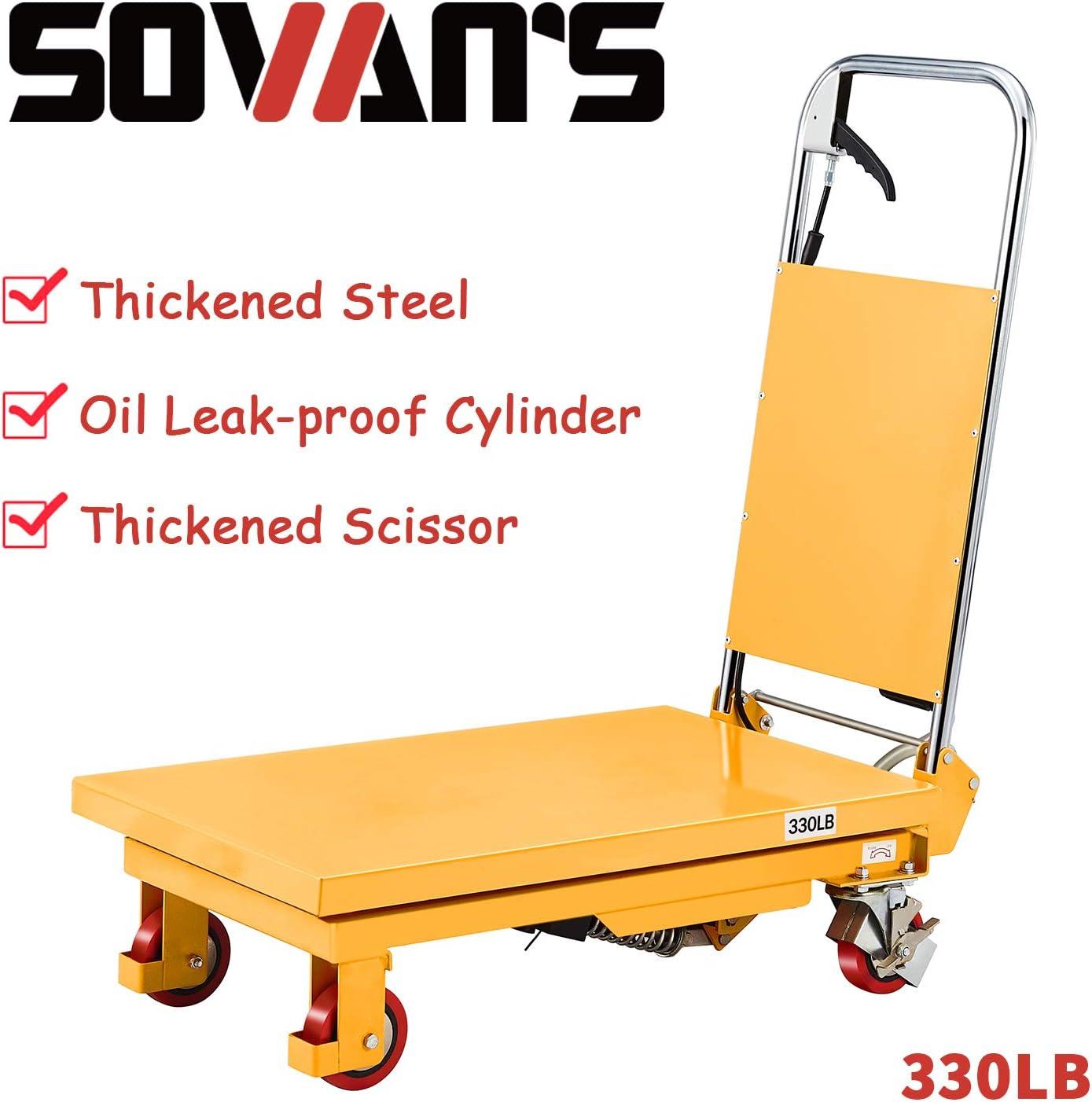 39.4 Lifting Height SOVANS Manual Single Scissor Hydraulic Lift ...