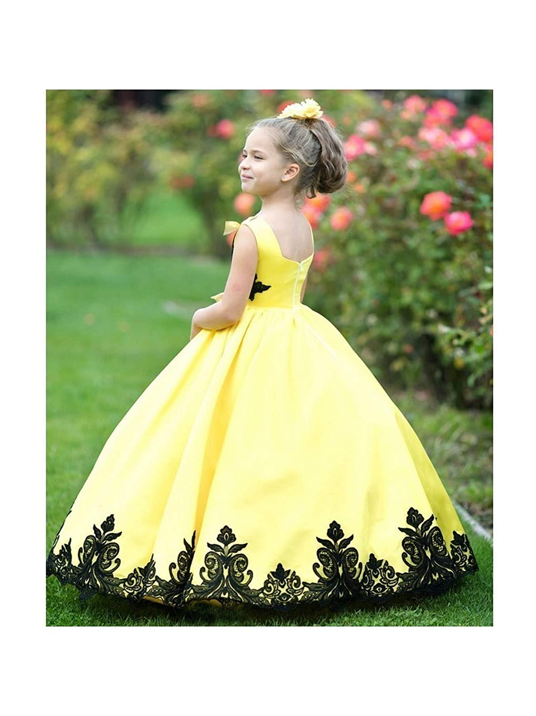 1f47a61ba Amazon.com  Little Girls Yellow Black Satin Lace Applique Sunset ...