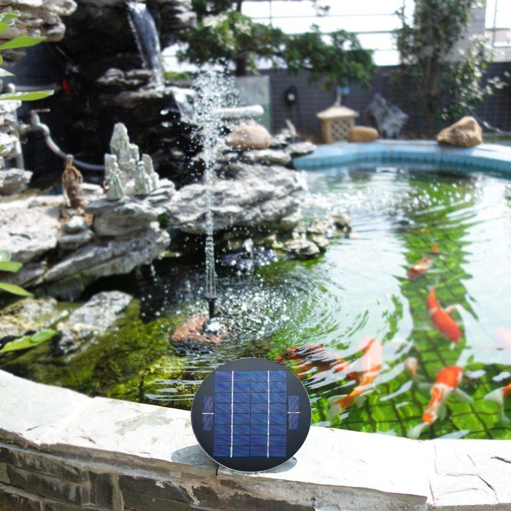 Decdeal Solar Pond Pump 9V 1.5W Solar Water Pump Solar Powered Fountain Kit Submersible Brushless for Bird Bath Pond Pull Garden