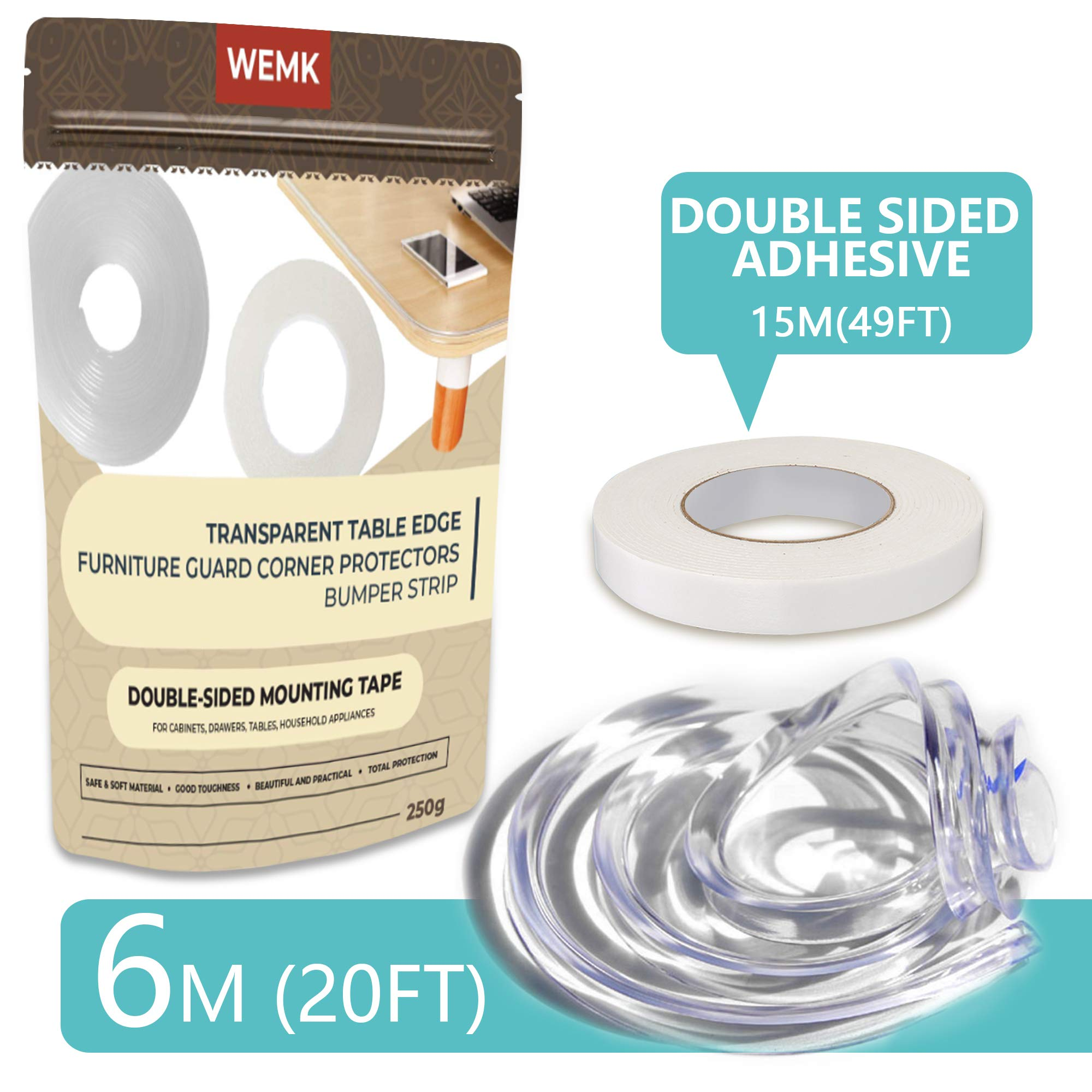 Wemk New Transparent Table Edge Furniture Corner Protectors, 20ft Widen & Thicken Baby Proofing Edge Safety Bumpers Strip, Safety for Child by Wemk (Image #2)