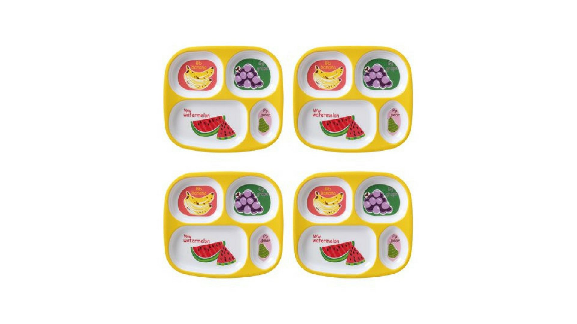 Kids 4-Pack Melamine Divided Plate ABC's of Health