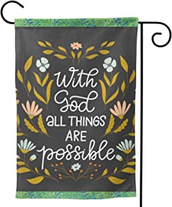 MINIOZE with God All Things are Possible Religious Christian Faith Welcome Outdoor Outside Decorations Ornament Garden Yard Decor Double Sided 12.5X 18 Flag