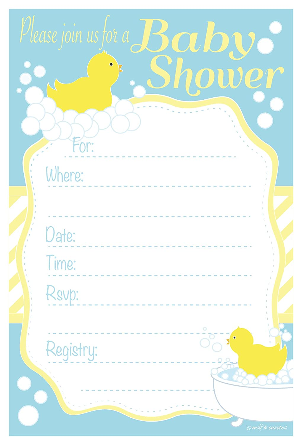 Amazon.com: Duck Baby Shower Invitations - Fill In Style (20 Count ...