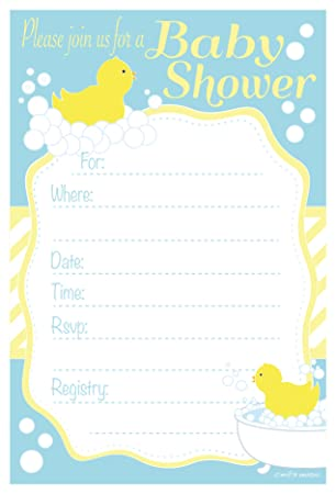 Amazon duck baby shower invitations fill in style 20 count amazon duck baby shower invitations fill in style 20 count with envelopes kitchen dining stopboris Image collections