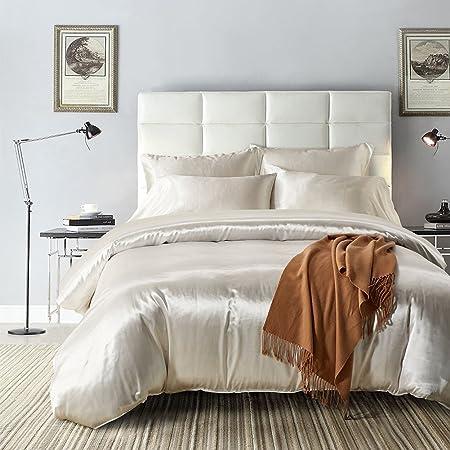 Sanmadrola Luxury 3 Piece Satin Silk Bedding Duvet Cover Sets Egyptian  Duvet Cover Set (5