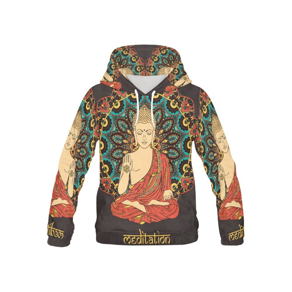 Buddah Buddhism Buddhist ZEN Art Kid's 3D Printed Pullover Hooded Sweatshirt