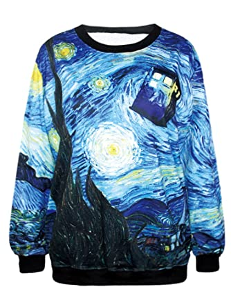 Pink Queen Women's Galaxy Print Roll Neck Pullover Sweatshirt at ...