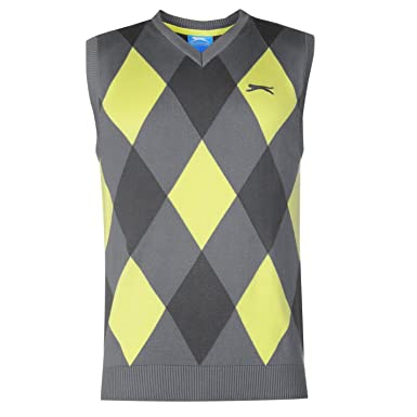 Slazenger Mens Argyle Knitted Vest Golf Sleeveless Sweater V Neck ...
