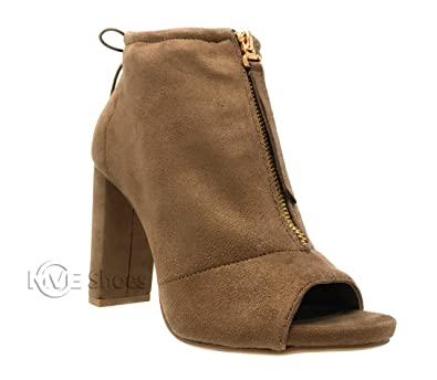 d5a174e30fc Amazon.com | MVE Shoes Womens Open Toe Ankle Bootie Front Zip Chunky Heel  Nice Boots | Ankle & Bootie