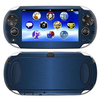 Decalrus - PlayStation PSP Vita BLUE Texture Brushed Aluminum skin skins  decal for case cover wrap BAvitaBlue