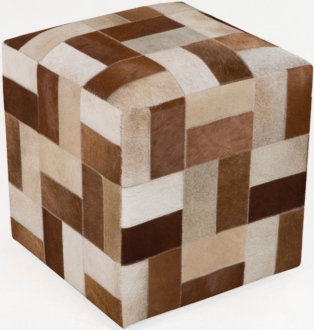 Surya Animal Inspirations Square pouf/ottoman 18''x18''x18'' in Brown Color From Surya Poufs Collection