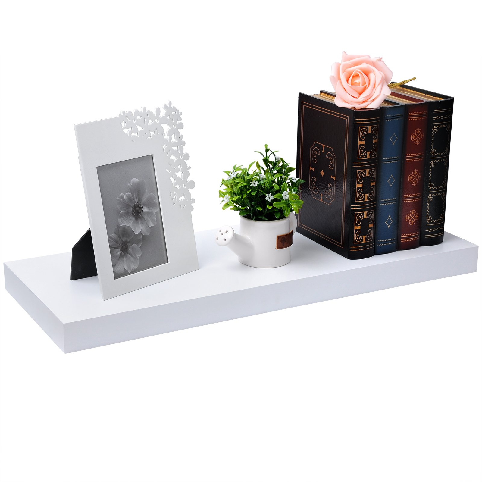 WOLTU Set of 2 Floating Wall Shelves MDF Wall Mount Wood Ledge Display and Organizer Rack with Hidden Brackets,23.62'' Long, White, WS03whiS60-2