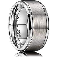 خاتم زفاف من التنجستين بمظهر مطفي غير لامع مصقول وتصميم مريح للرجال من كينغ ويل، قياس 6 و7 و8 و9 و10 ملم