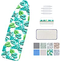 "Ironing Board Cover and Pad Standard Size 15"" x 54"",Elastic Edges and 4 Adjustable Fasteners Make 3 Layer Padded Ironing…"