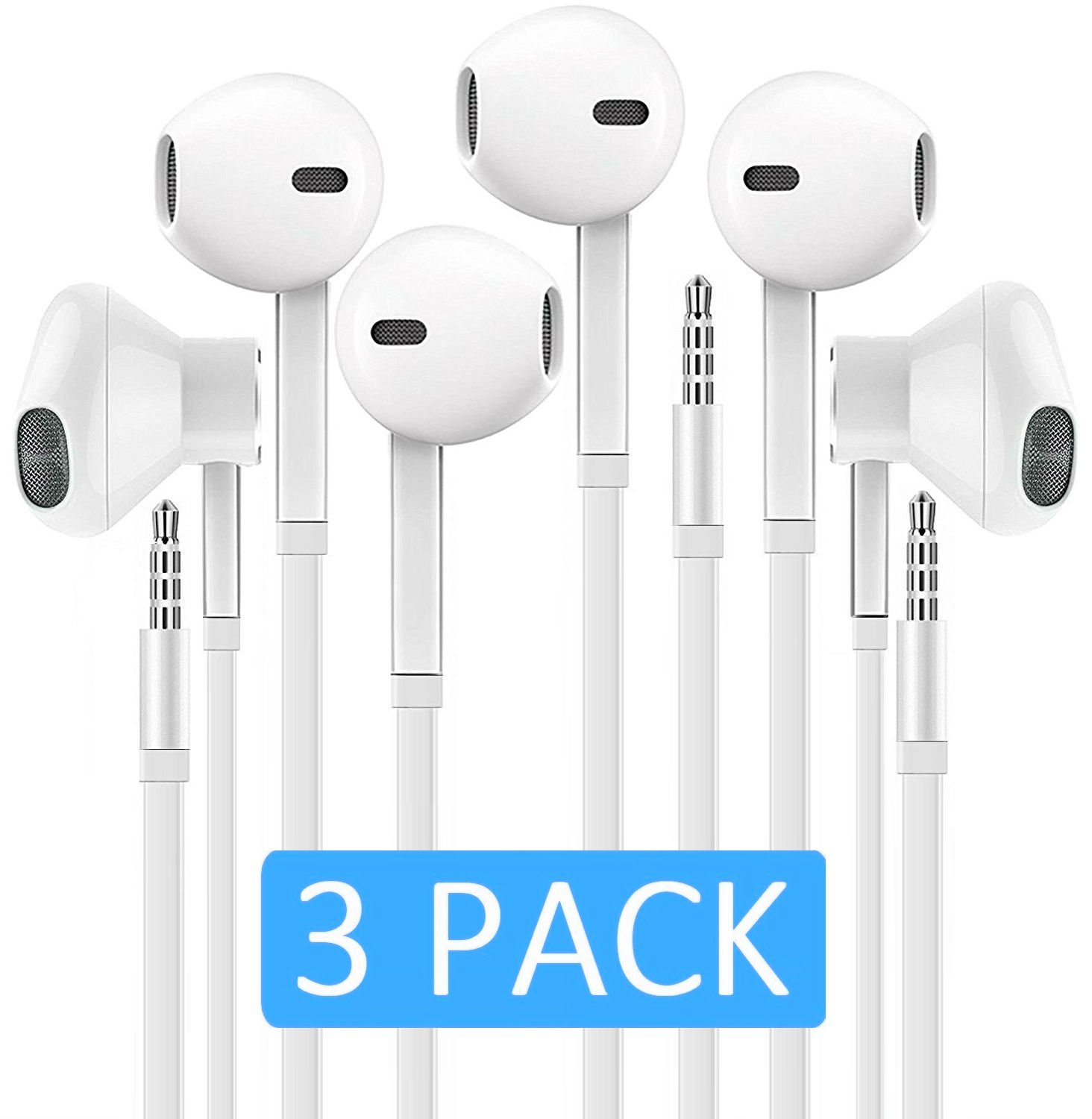 Headphones with Microphone, Certified PowerBoost In-Ear 3.5mm Noise Cancelling Sport Stereo Earphones Headset for iPhone iPad iPod Laptop Tablet Android LG HTC Smartphones (White) 3 PACK