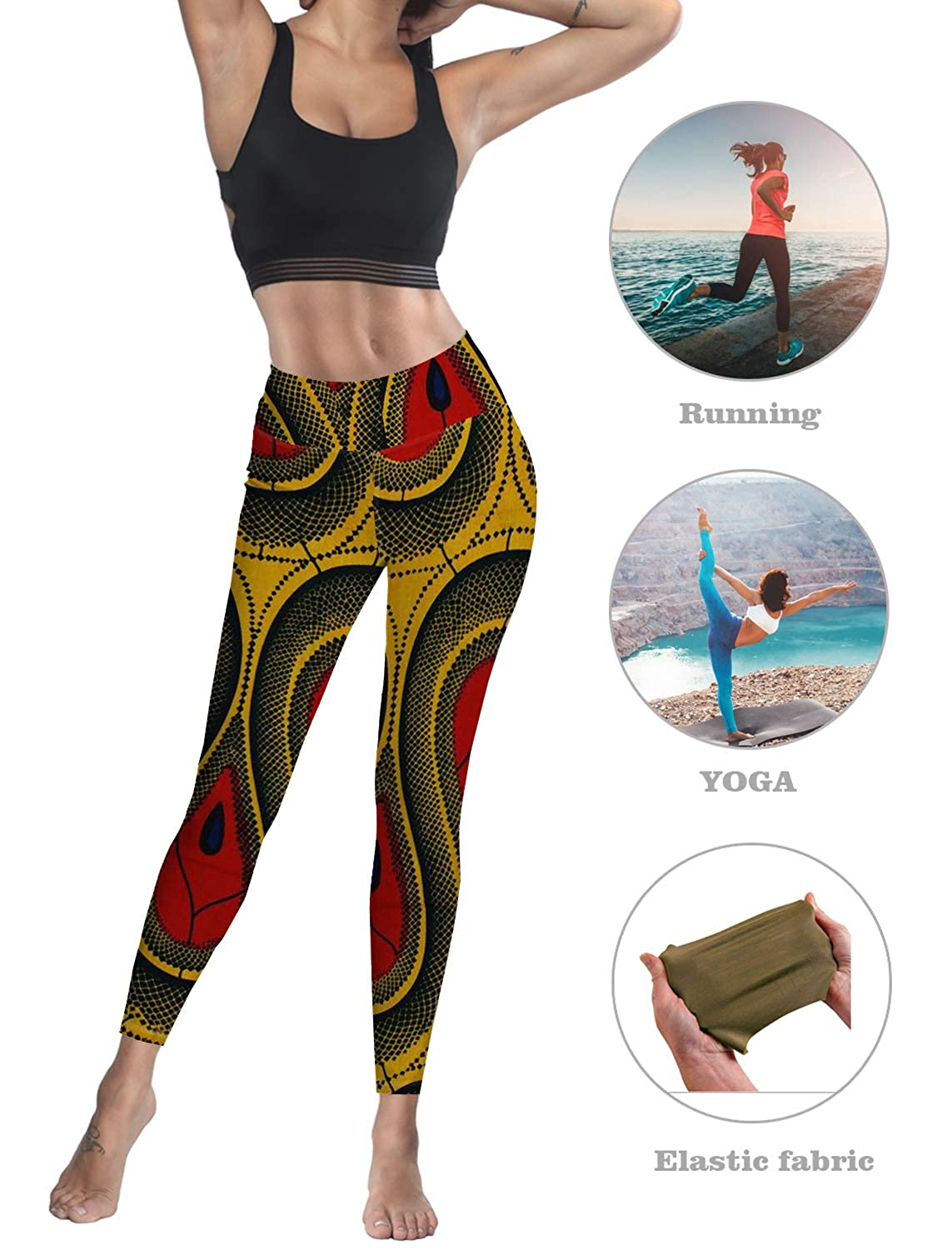 Sodika Women Stretch High Waist Yoga Pants Running Tights Ethnic Pattern Capris Compression Workout Leggings