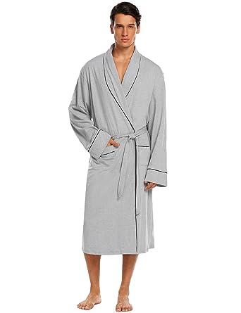 2527d2ec9a Untlet Bathrobe Mens Cotton Spa Robes Lightweight Bath Robe Lounge  Sleepwear (Medium
