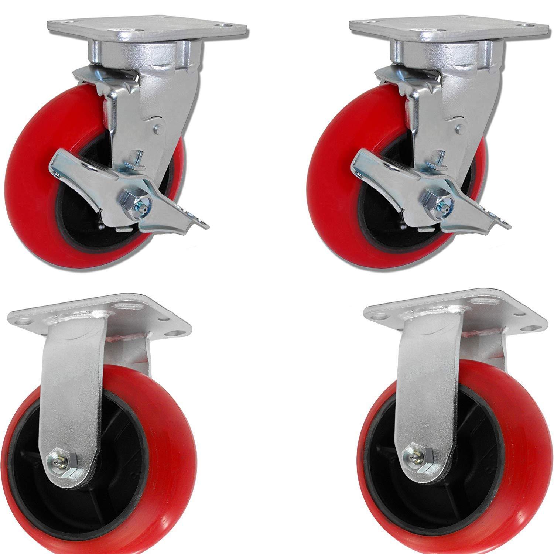 Caster Barn - 6'' X 2'' Tool Box Caster KIT Set of 4 - RED Polyurethane Wheel - 5,000 lbs Capacity