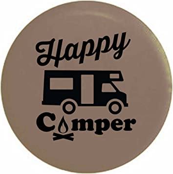 Pike Happy Camper Camp Fire RV Trailer Spare Tire Cover OEM Vinyl Tan 29 in