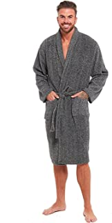 Mens Luxury Super Soft Fleece Dressing Gown Bath Robe Hooded Thick Warm Snuggle