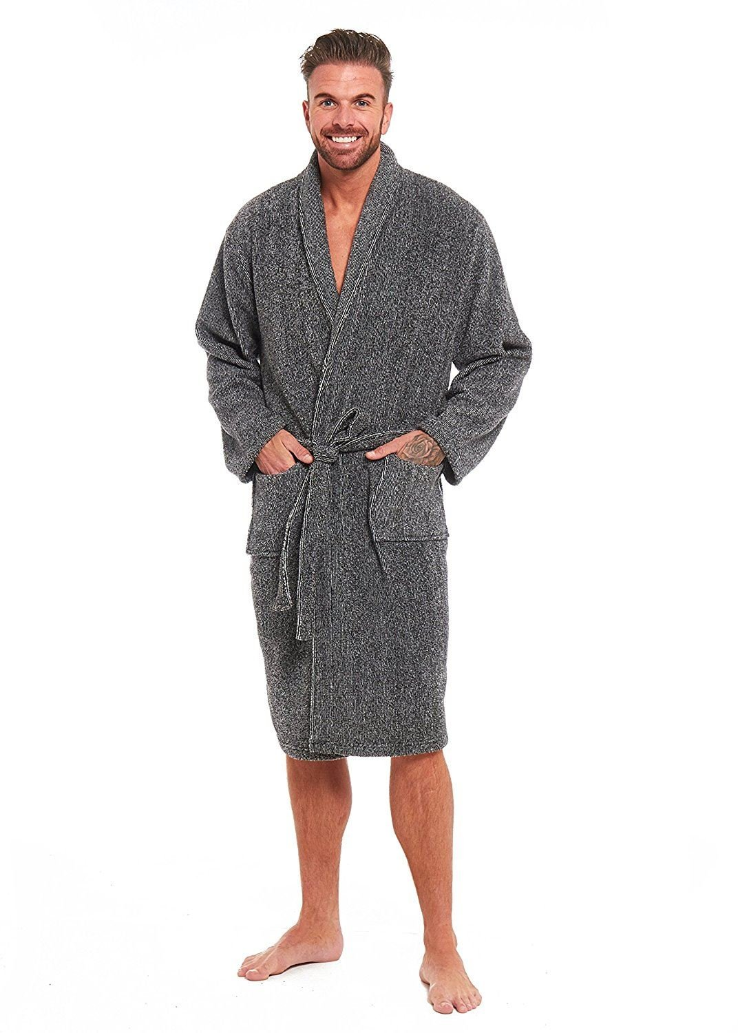 Mens Luxury Super Soft Fleece Dressing Gown Bath Robe Hooded Thick Warm Snuggle Style It Up