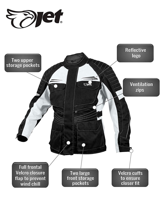 Silber Schwarz, XL Jet Motorrad Motorrad Jacke Herren Textil wasserdicht CE gepanzert Titan EU 52-54