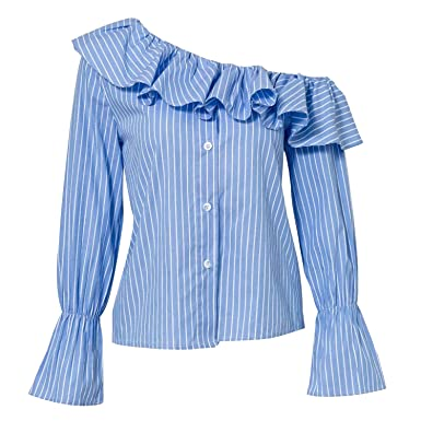 b747ee2f4bf5a6 Women Long Sleeve One Off Shoulder Striped Ruffle Shirt Top Blouse Blue S