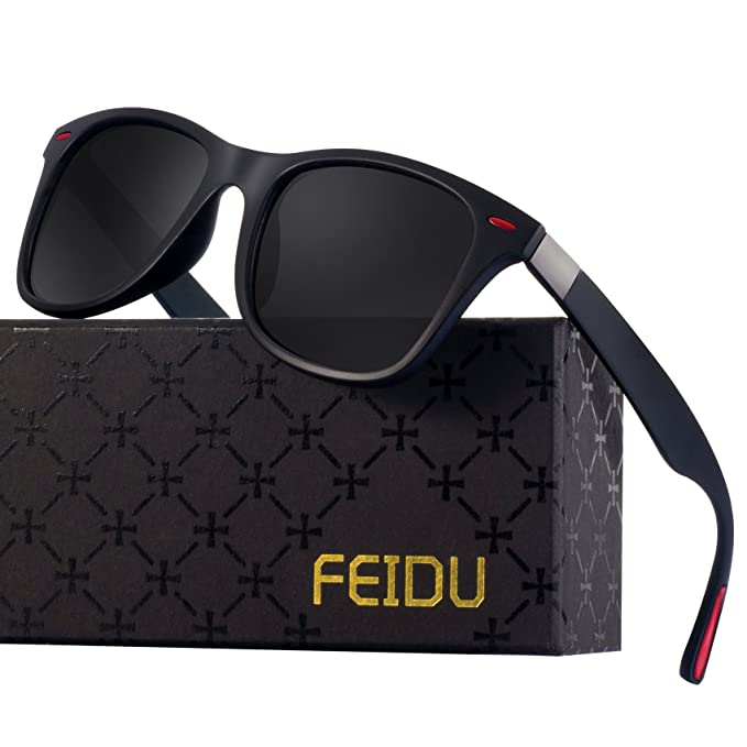 Wayfarer Sunglasses for Men Women - FEIDU HD Vision Polarized Sunglasses FD2150 (black/red,2.08)