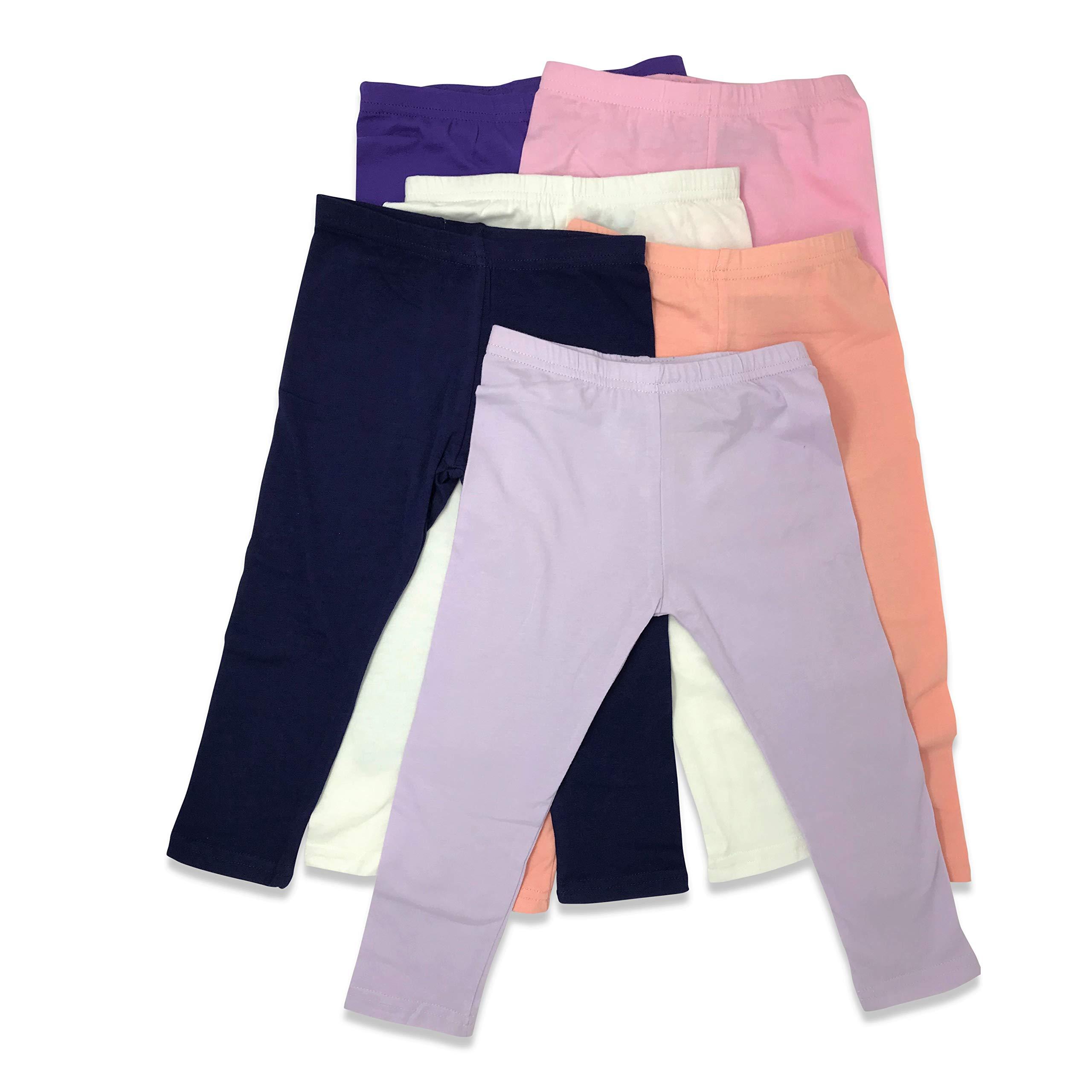 Boys Girls Toddler Little Kids Unisex 6 Pack Cotton Stretch Snug Fitting Long Pant Leggings (6 Pack- Pastels, 4T)