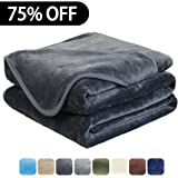 Luxury Fleece Super Soft Thermal Blanket Warm Fuzzy Microplush Lightweight Blankets for Bed Sofa, Seashell Series,Queen,90 by 90 Inches,Dark Gray