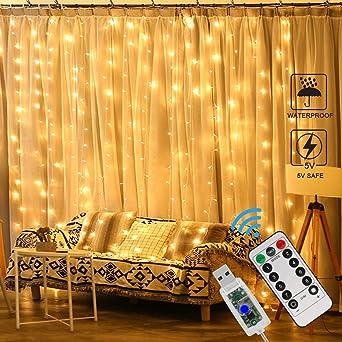 DEL Rideau Lumières Rideau de fenêtre Fée Lumières 306 DEL 3 m x 3 m intérieur chaud Oll