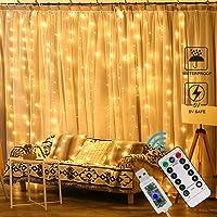 Zorara Cortina de Luces LED Navidad,3m x 3m Cortina Luces LED, 8 Modos de Luces, Resistente al Agua,Cortina Luces LED para Decoración de Ventana[Clase de eficiencia energética A+] (Blanco cálido)