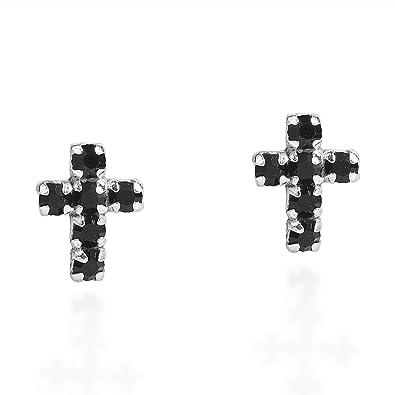 eca97a8e3 Amazon.com: Cute Petite Cross Black Cubic Zirconia .925 Sterling Silver Stud  Earrings: Cross Earrings Sterling Black: Jewelry
