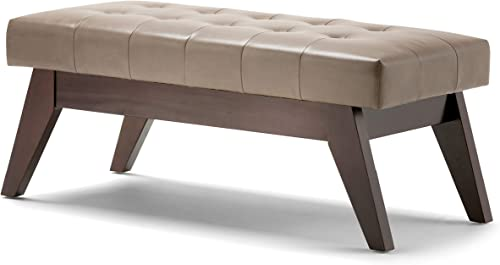 Editors' Choice: SIMPLIHOME Draper 40 inch Wide Rectangle Ottoman Bench Ash Blonde Tufted Footrest Stool