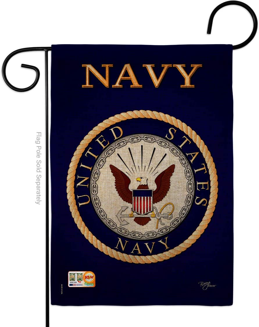 Breeze Decor Navy Burlap Garden Flag Armed Forces USN Seabee United State American Military Veteran Retire Official Small Decorative Gift Yard House Banner Double-Sided Made in USA 13 X 18.5