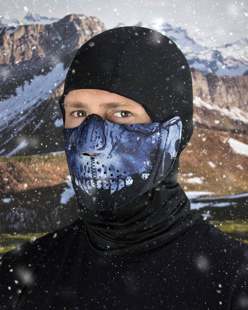 ZANheadgear WBNFM417H Unisex-Adult Modi-Face Accessory (Detachable Mask Neoprene Midnight Skull)(Multicolor, One Size)