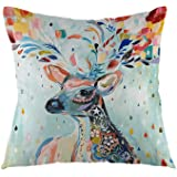 oFloral Home Decorative Colorful Deer Throw Pillow Case Square Cushion Cover for Sofa Bed Chair Couch Decoration 18 x 18…