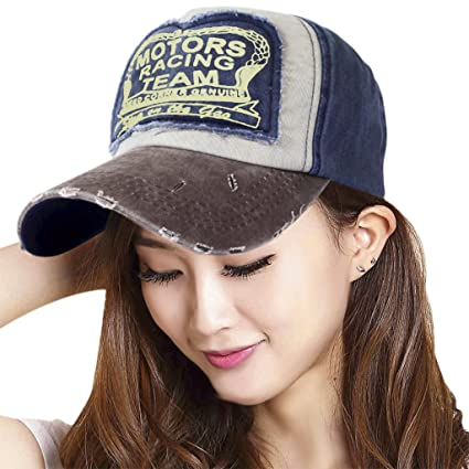 4af5ef43574 Amazon.com  Vintage Washed Denim Cotton Sports Baseball Cap