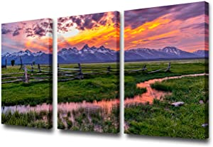 3 Pcs Canvas Prints Wall Art - An Abandoned Old Ranch in Mormon Row Historic District, in Grand Teton National Park, Wyoming, USA | Modern Home Deoration/Wall Decor Giclee Printing Wrapped Canvas Art