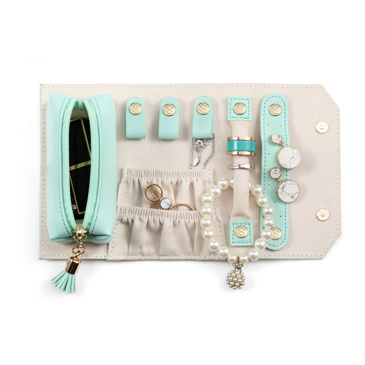 Vlando Small Travel Jewelry Roll Bag Organizer, Smart Size & Light Weight for Daily Jewelries (Mint Green)