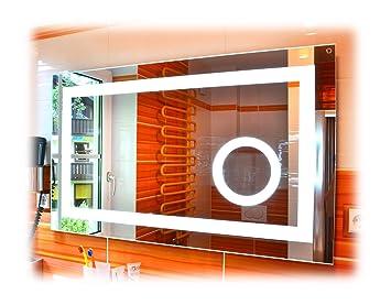 Badspiegel Mit Led Beleuchtung Und Kosmetikspiegel 100x60 Cm