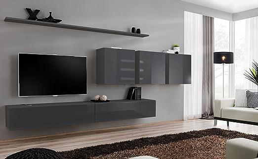 All4all Orinoko Sw 7 Wall Unit High Gloss Tv Board Wall Cabinet Living Room Set Lowboard Small Living Room Wall Unit Tv Cabinet Grey Amazon De Kuche Haushalt