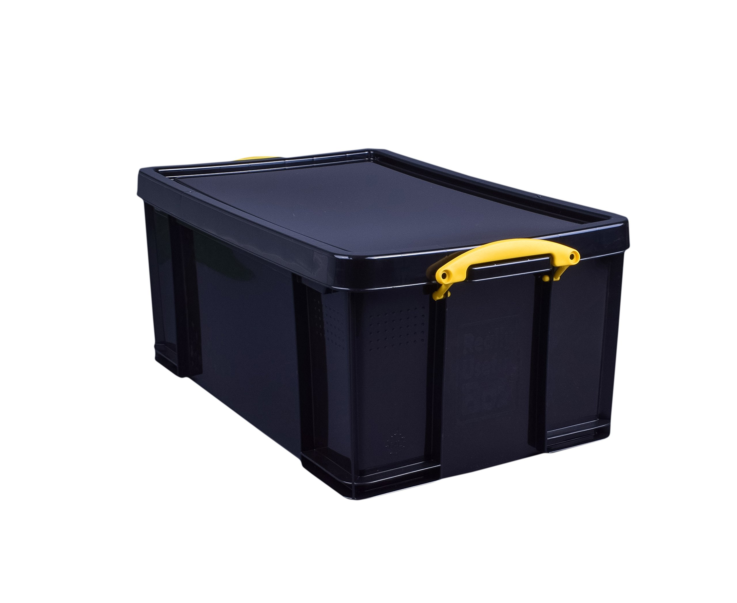 Really Useful Box(R) Plastic Storage Box, 64 Liter, 100% Recycled, 27 3/4in. x 17in. x 12in, Black