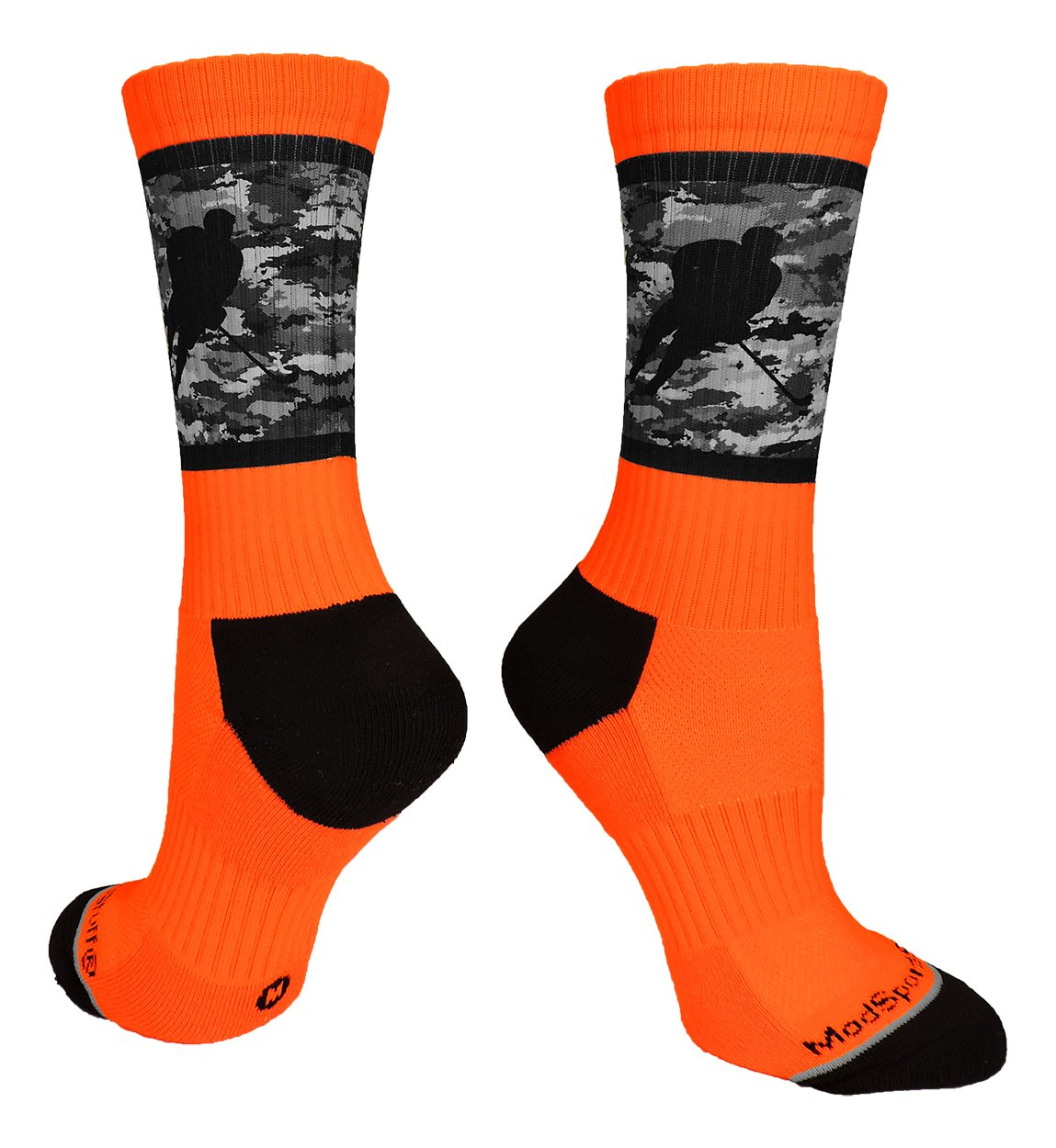 MadSportsStuff Hockey Player Crew Socks (Neon Orange/Black Camo, Small)