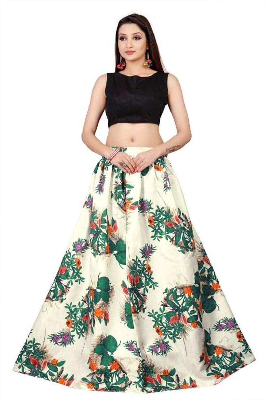 3e67dbea6b MadhavFashion Women's Satin Floral Print Lehenga Choli (White and Black,  Free Size): Amazon.in: Clothing & Accessories